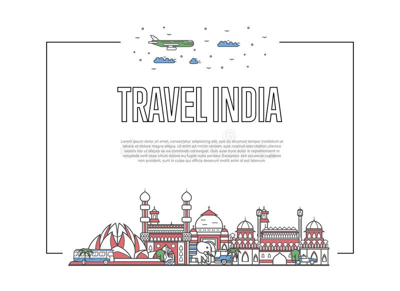 Travel India poster in linear style. Travel India poster with famous architectural attractions in linear style. Worldwide traveling and time to travel concept stock illustration