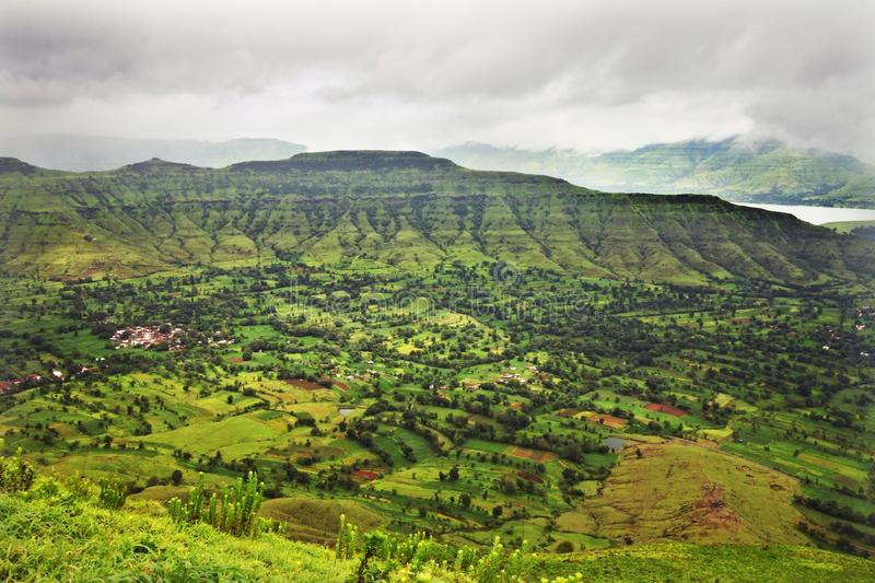 Stormy weather in coastal green valley of India stock photography