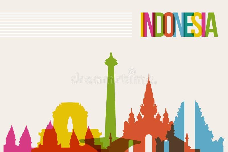 Travel Indonesia destination landmarks skyline background. Travel Indonesia famous landmarks skyline multicolored design background. Transparency vector