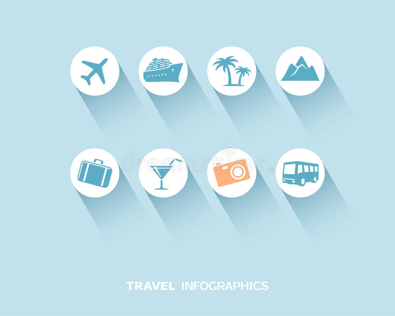 Travel infographic with flat icons set vector illustration