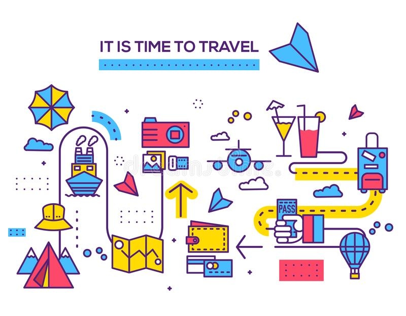 Travel infographic icons items design. Vacation rest with any elements set. Tour trip, journey outline illustrations. Vector background. Tourist image on thin stock illustration