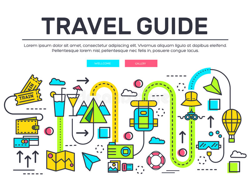 Travel infographic icons items design. Vacation rest with any elements set. Tour, trip, journey outline illustrations. Vector background. Tourist image on thin royalty free illustration