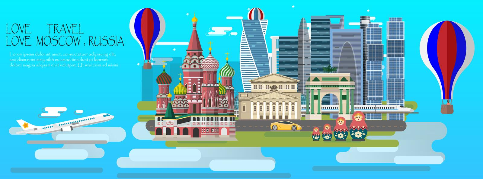 Travel infographic. Moscow infographic tourist sights of Russia vector illustration