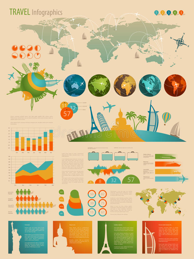 Travel Infographic set with charts stock photos