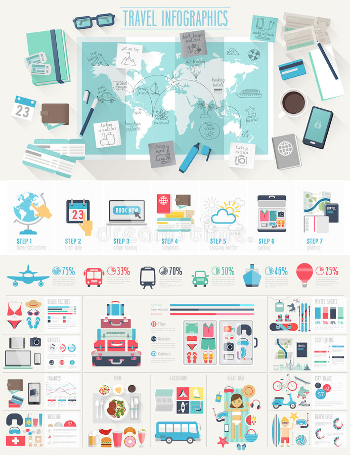 Travel Infographic set stock images