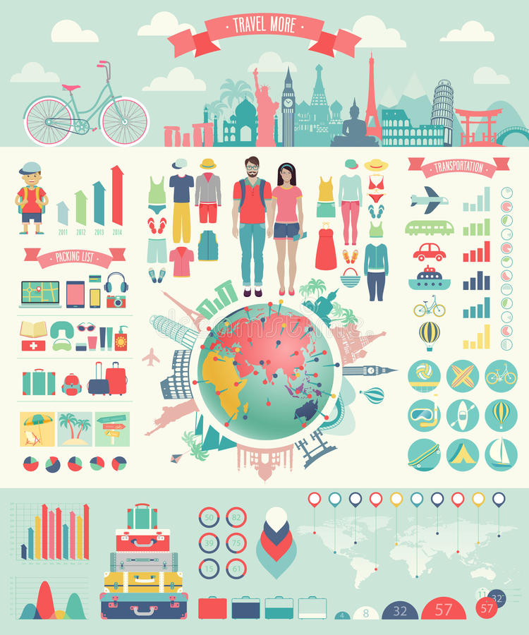 Free Travel Infographic Set With Charts And Other Elements. Royalty Free Stock Photo - 43670605
