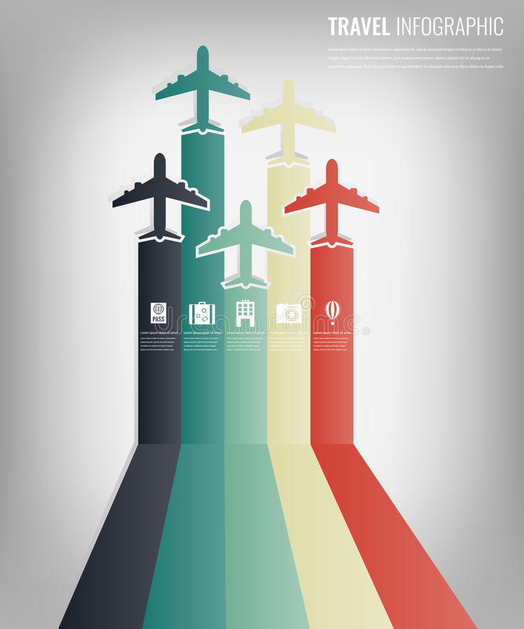 Travel infographic template with colorful airplanes. Flat design. Vector stock illustration