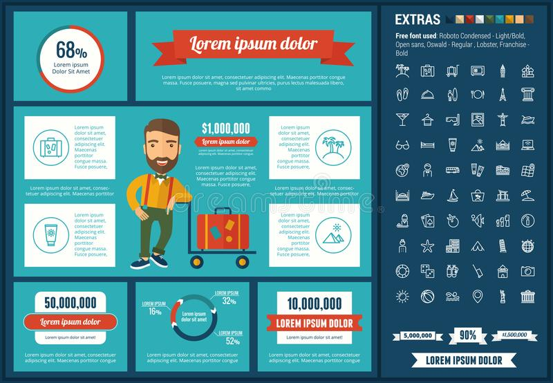 Travel flat design Infographic Template. Travel infographic template and elements. The template includes illustrations of hipster men and huge awesome set of vector illustration