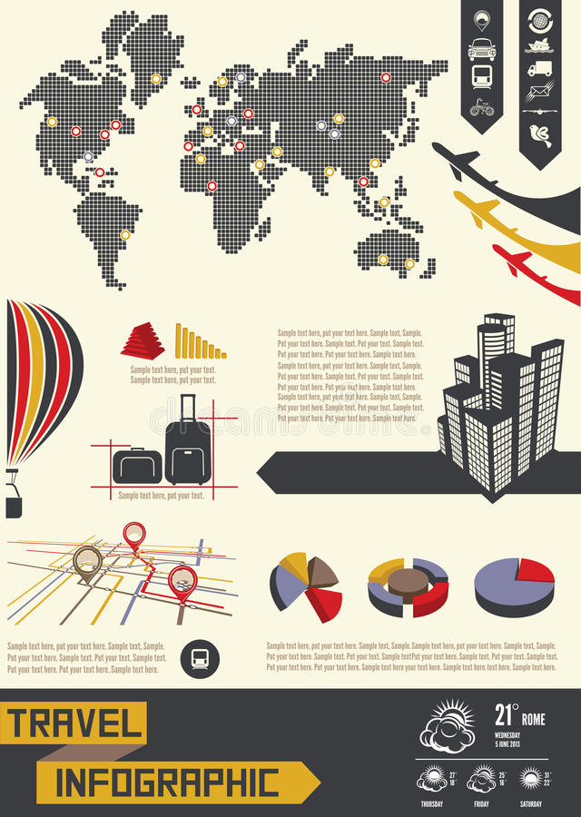 Travel infographic. Vector illustrations of the Travel infographic stock illustration
