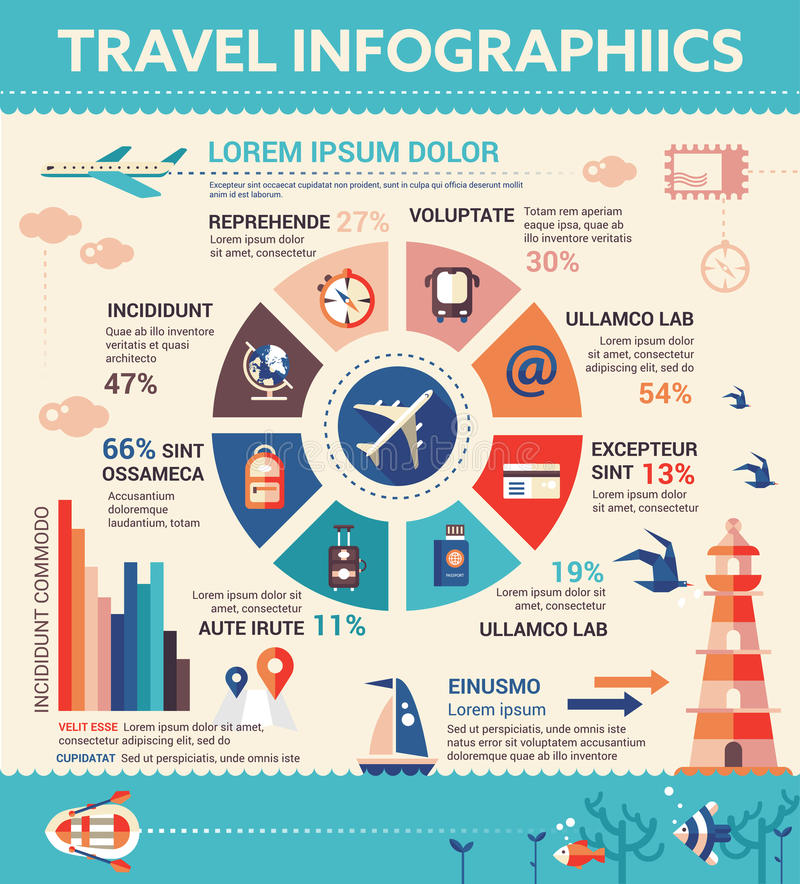 Travel Infographics - poster, brochure cover template royalty free illustration