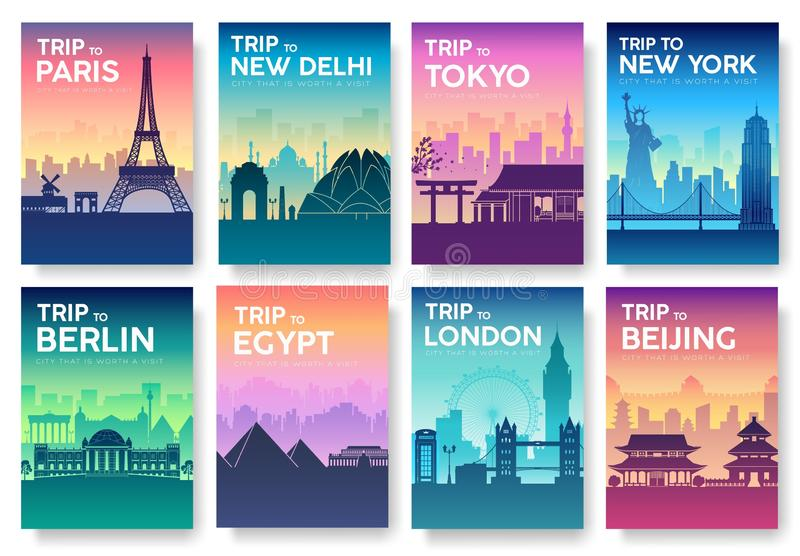 Travel information cards. Landscape template of flyear, magazines, posters, book cover, banners. Country of England, China, stock illustration