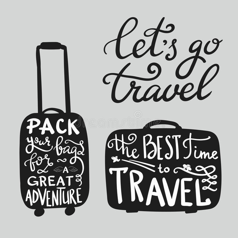 Travel inspiration quotes on suitcase silhouette. The best time to travel. Pack your bags for a great adventure. Lets go travel. Motivation for traveling royalty free illustration