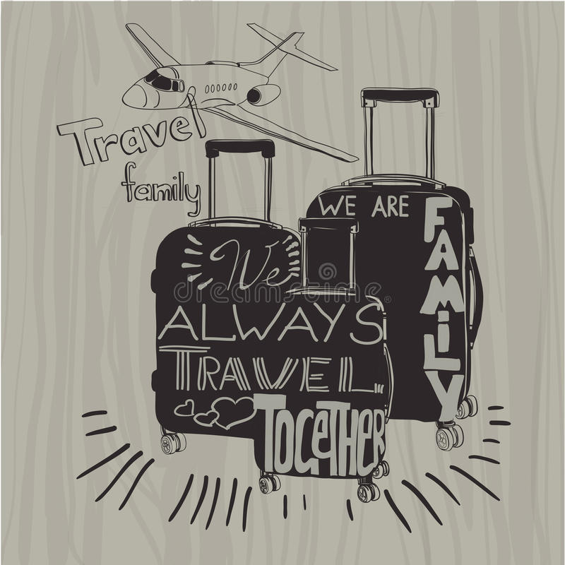 Travel inspiration quotes on suitcase silhouette. Vintage letter. Vector illustration Travel inspiration quotes on suitcase silhouette. Vintage lettering baggage stock illustration