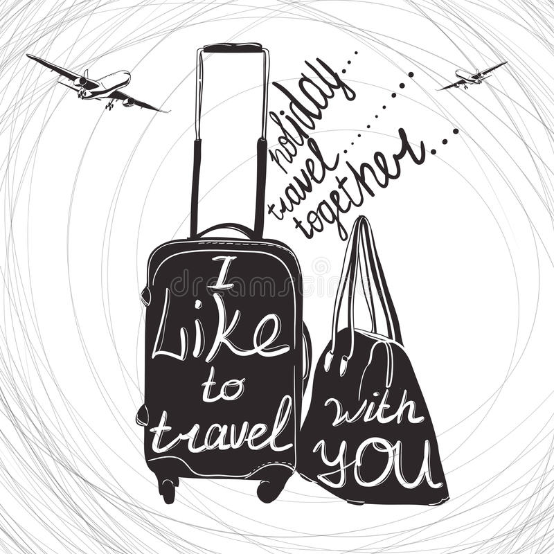 Travel inspiration quotes on suitcase silhouette. Vintage letter. Vector illustration Travel inspiration quotes on suitcase silhouette. Vintage lettering baggage vector illustration