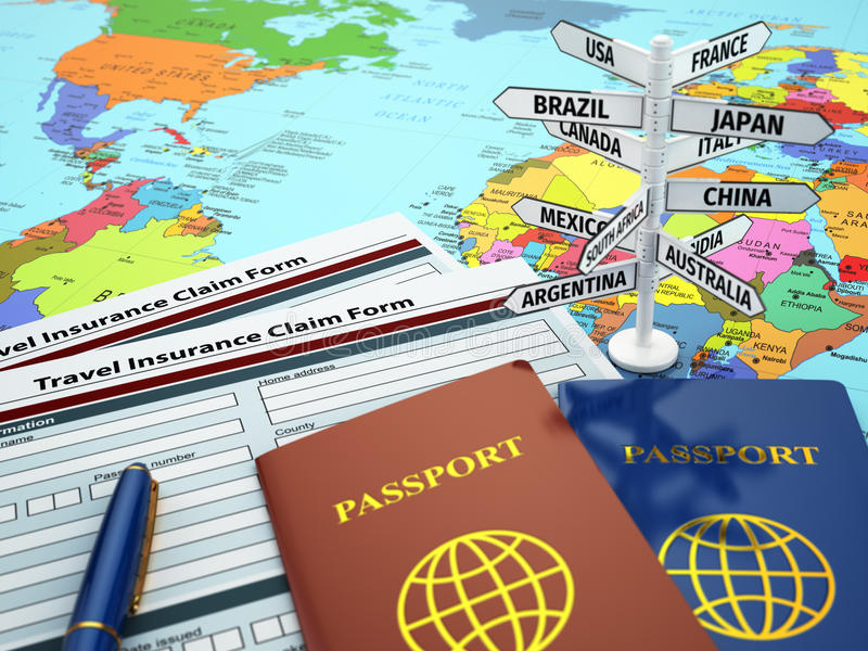Travel insurance application form, passport and sign of destinat. Ion on the map. DOF effect. 3d vector illustration