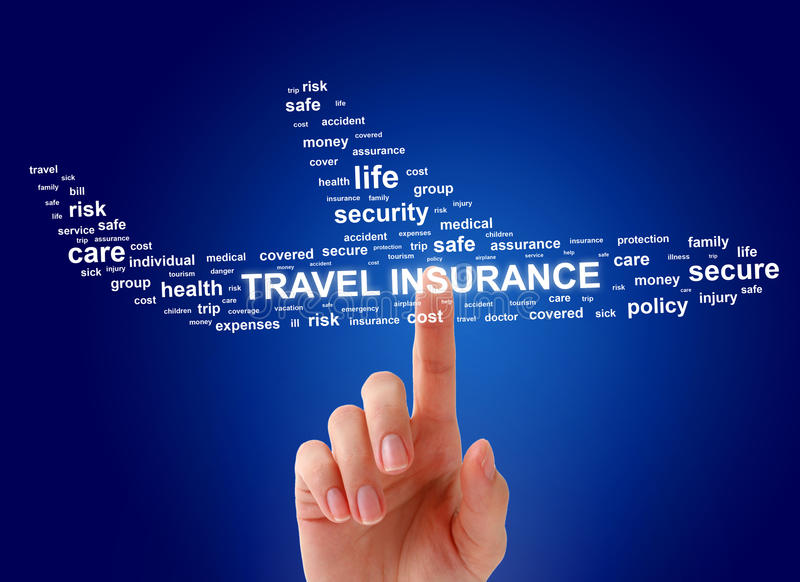 Travel insurance concept. Airplane and female hand stock photo