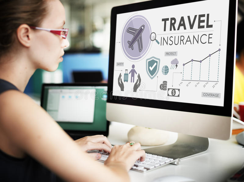 Travel Insurance Destination Tourism Vacation Concept stock photography