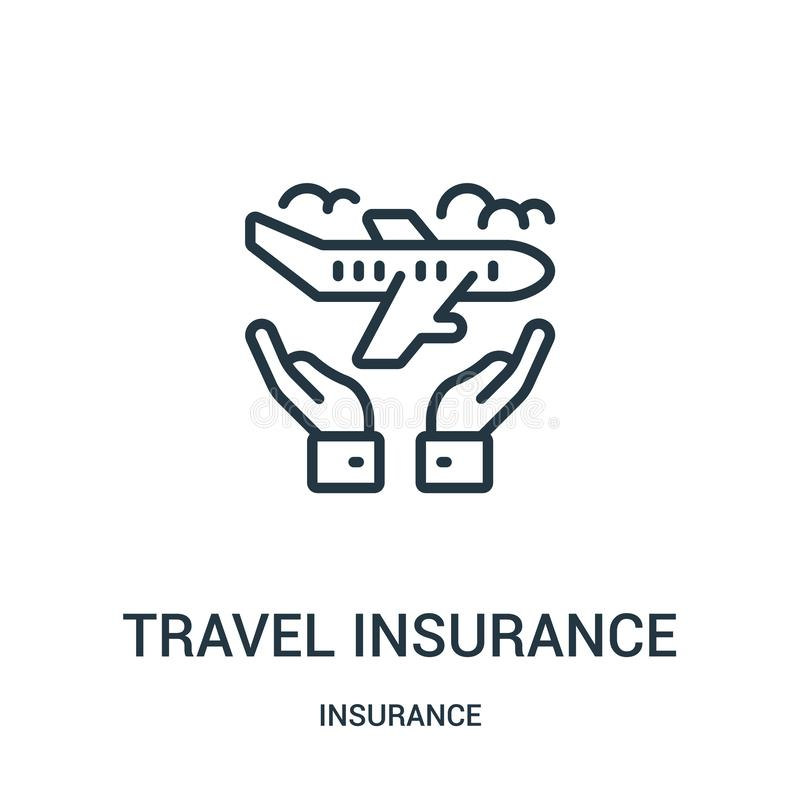 travel insurance icon vector from insurance collection. Thin line travel insurance outline icon vector illustration. Linear symbol royalty free illustration