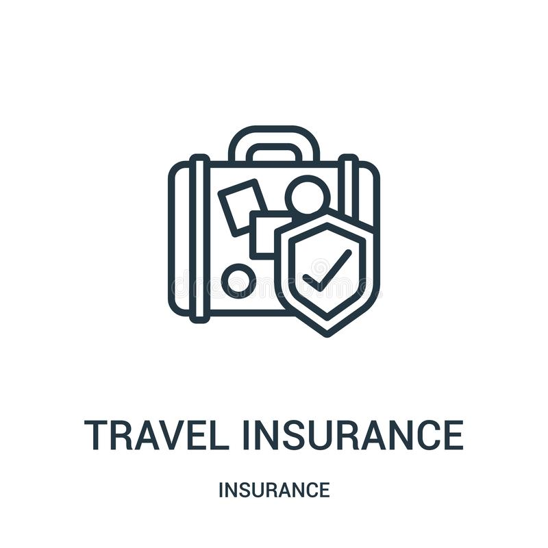 travel insurance icon vector from insurance collection. Thin line travel insurance outline icon vector illustration. Linear symbol vector illustration