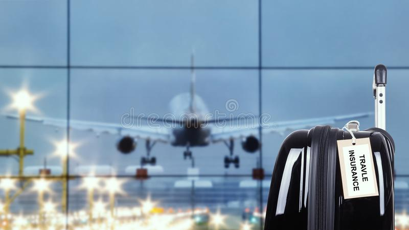 Travel insurance label stock photography