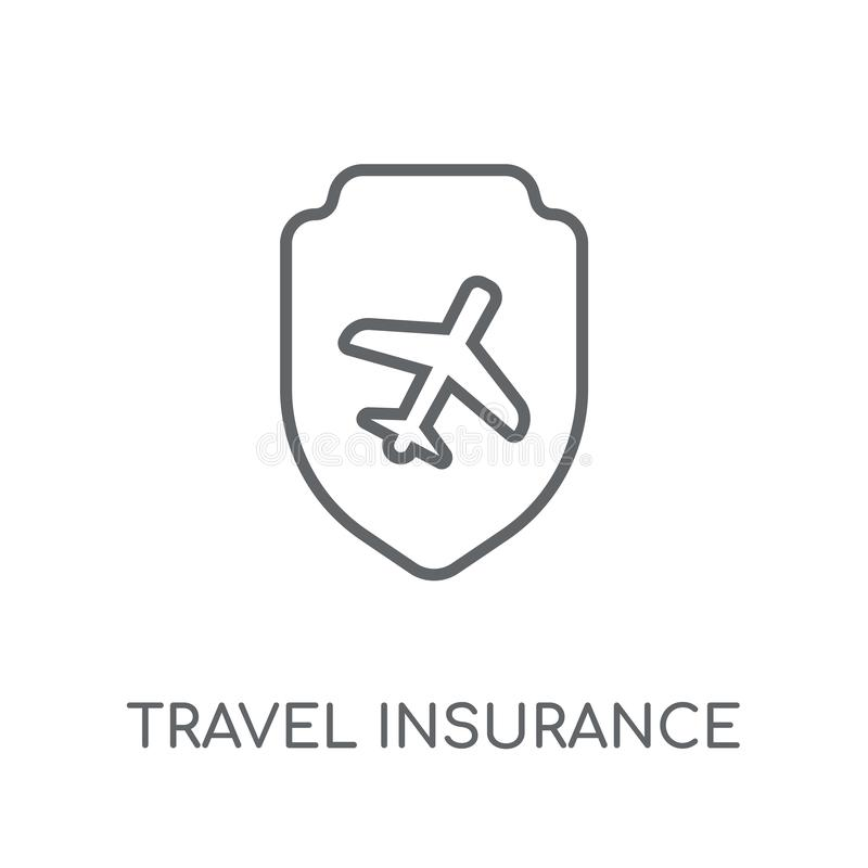 Travel insurance linear icon. Modern outline Travel insurance lo stock illustration