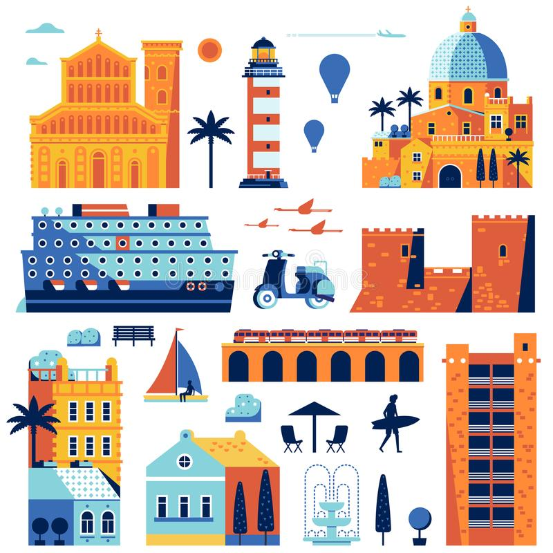 Summer Mediterranean Sea Town Constructor. Travel island creator set. Maps and infographic elements. Church, lighthouse, cruise ship, scooter and houses royalty free illustration