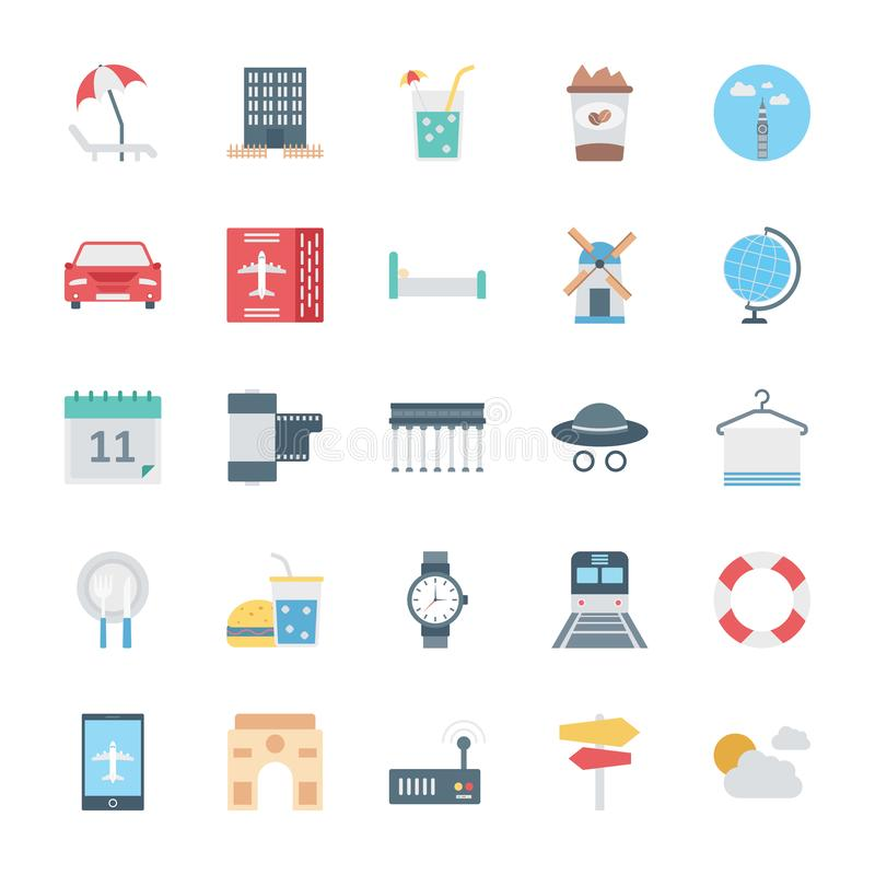 Travel Isolated Vector Icons Set Consist With beach, coffee, taxi, globe, watch, towel and cloud vector illustration
