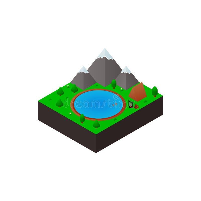 Travel isometric icon. Vector illustration. Travel isometric icon. Type of recreation. Mountains and lake. Flat.Element for design of advertising poster, tourist stock illustration