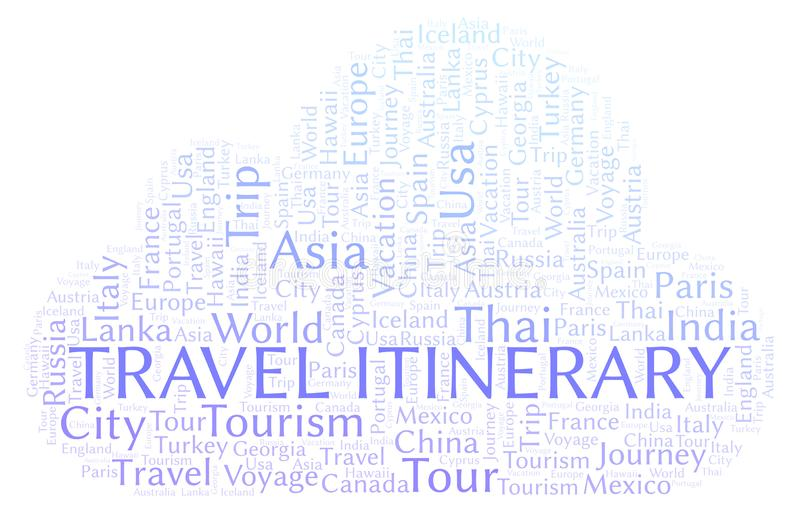 Travel Itinerary word cloud. Wordcloud made with text only royalty free illustration