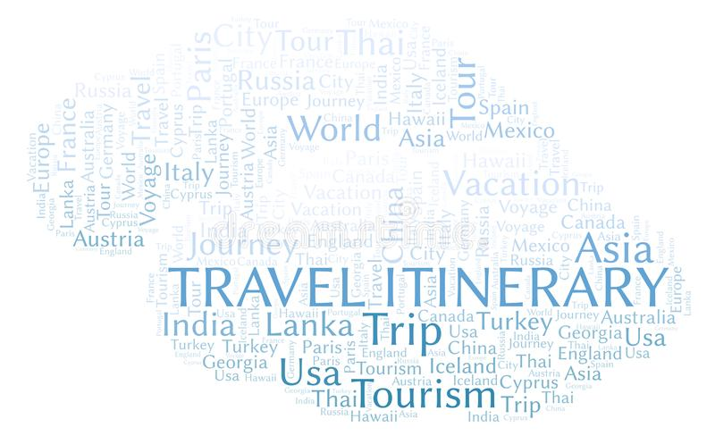 Travel Itinerary word cloud. Wordcloud made with text only stock illustration
