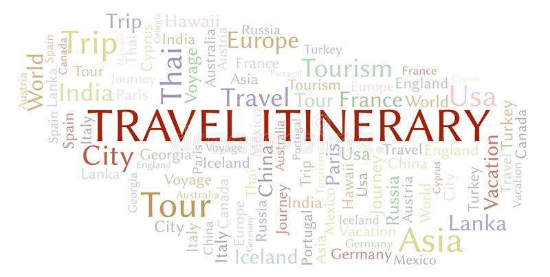 Travel Itinerary word cloud. Wordcloud made with text only vector illustration