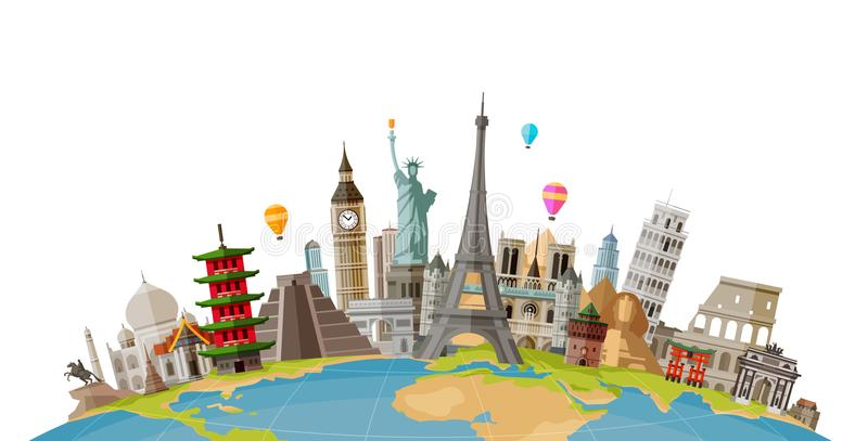 Travel, journey concept. Famous monuments of world countries. Vector illustration. Isolated on white background royalty free illustration