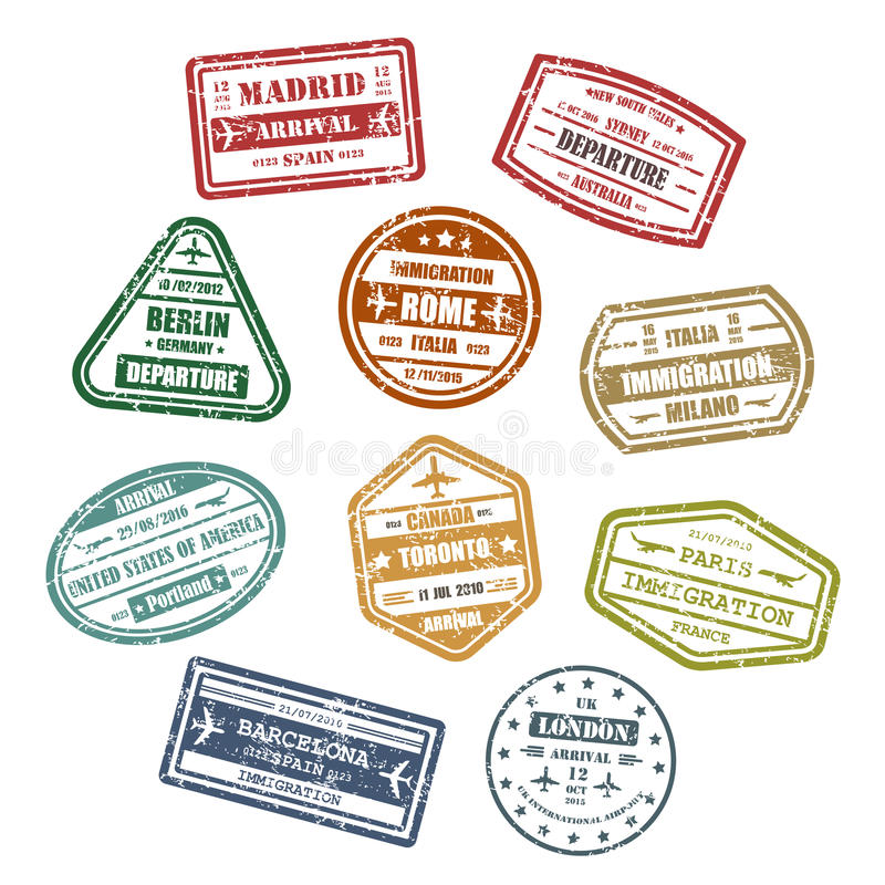 Travel or journey visa or passport signs vector illustration