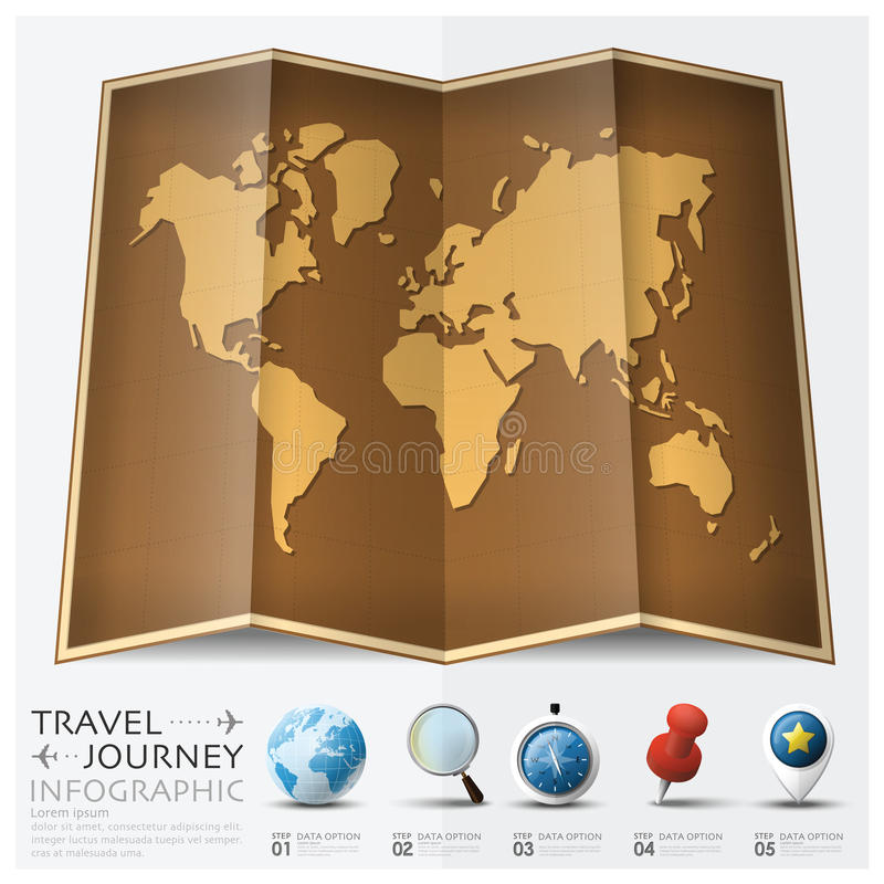 Travel And Journey World Map With Point Mark Infographic Stock - World map to mark travels