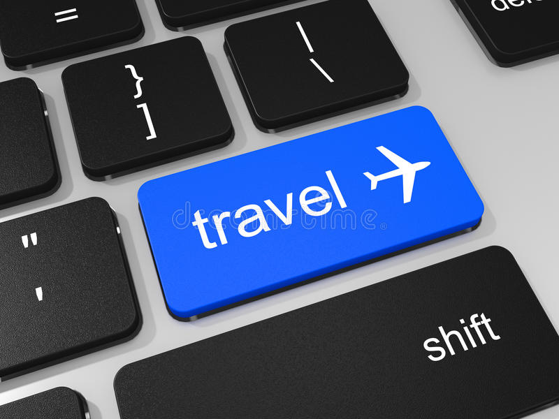 Travel key and airplane symbol on keyboard of laptop computer. stock illustration