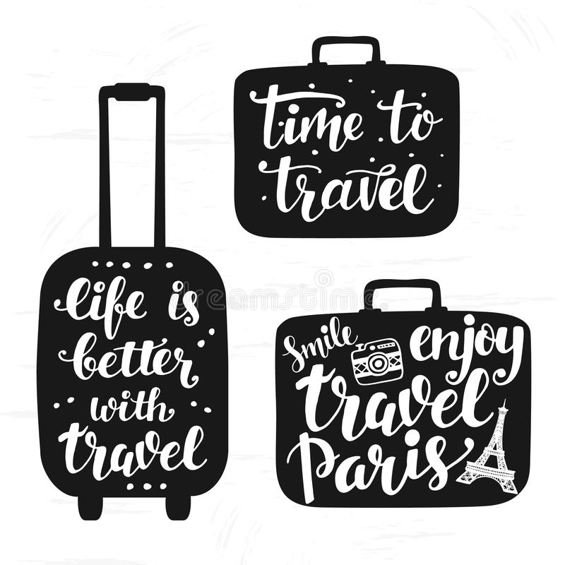 Travel label set with hand written lettering motivational inscription in suitcase silhouettes. Inspiration quotes. Trendy typography design for cards, posters vector illustration