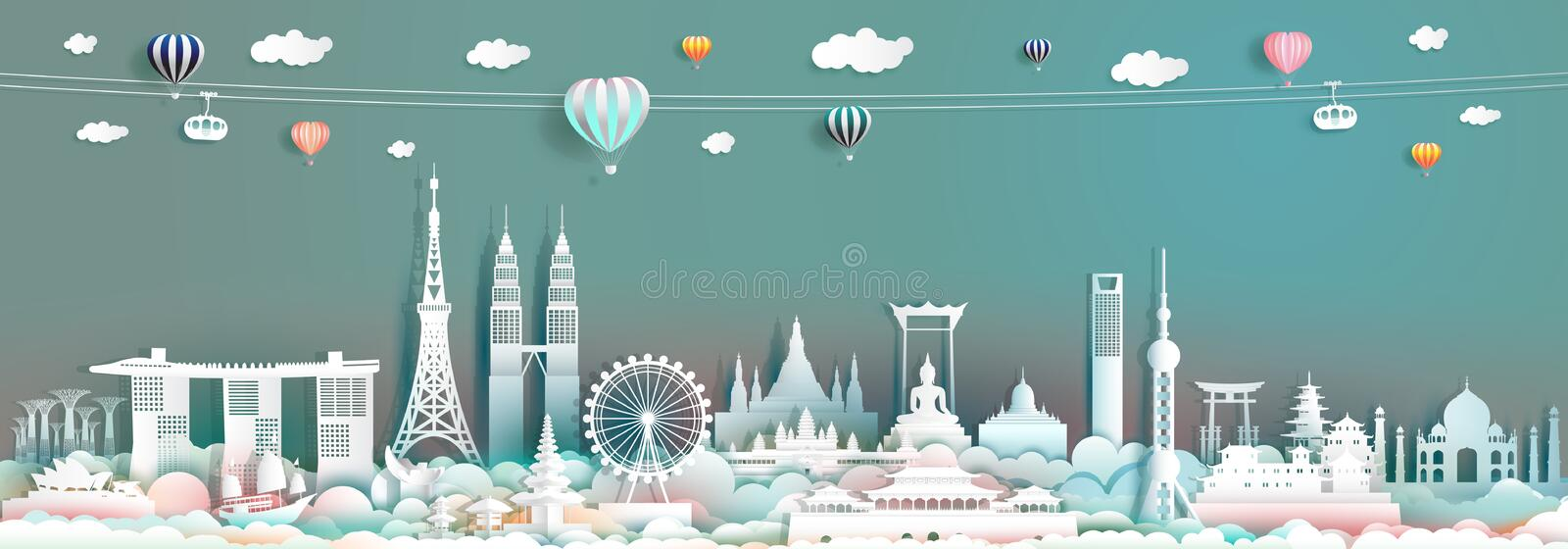Travel landmark Asia with downtown cityscape skyline and asean tourism. Traveller landscape city capital, Travel landmarks to Asia for wallpaper poster and royalty free stock images