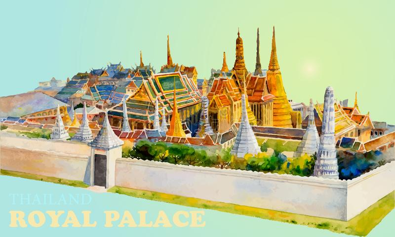 Travel landmark popular royal grand palace bangkok Thailand. Watercolor painting landscape colorful of architecture and river view. Hand drawn illustration stock images