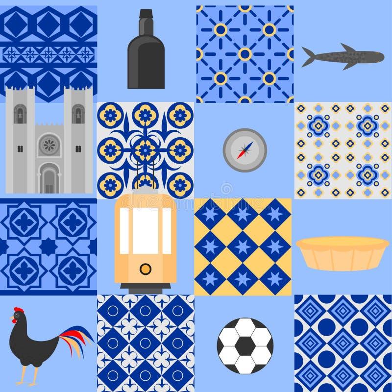 Travel landmark Portugal elements. Flat architecture and building icons Cathedral of Lisbon. National portuguese symbol wine porto. Traditional tile azulezhu stock illustration