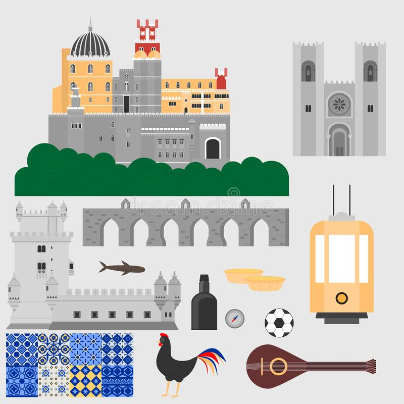 Travel landmark Portugal elements. Flat architecture and building icons Tower Belem, Sintra castle Pena Palace, aqueduct of freedo. M name Aguas libre and stock illustration