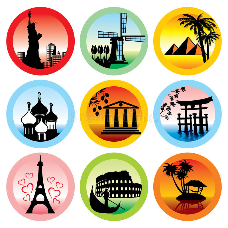 Travel landmarks. Set of icons for travel to various countries stock illustration