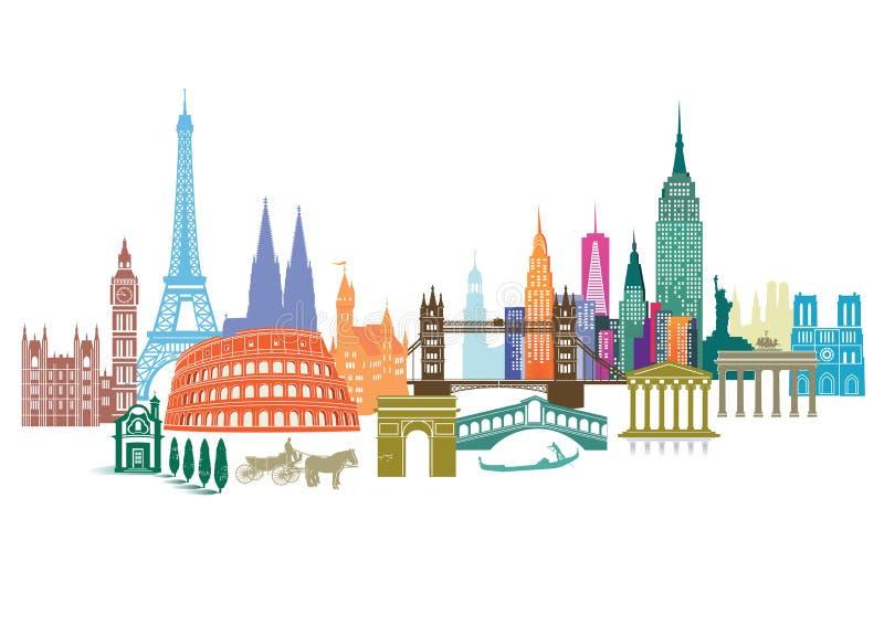 Travel landmarks royalty free illustration