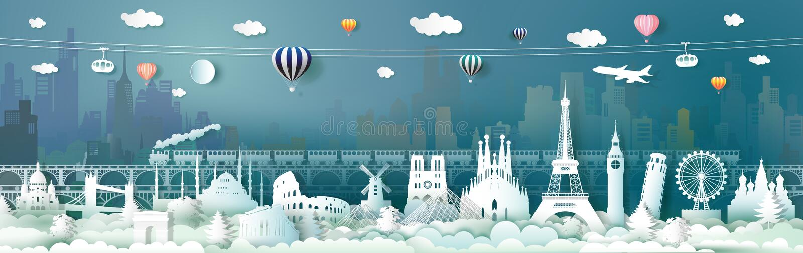 Travel landmarks of Europe with train, balloon. Traveling the world, Famous architecture panorama landmark cityscape, Popular capital, Origami paper cut style vector illustration