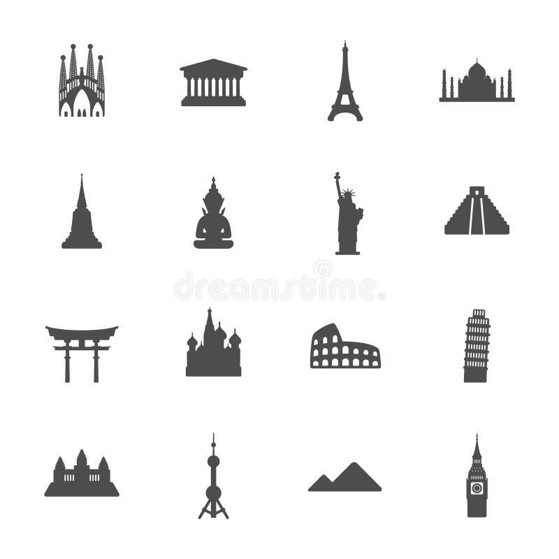 Travel landmarks icon set royalty free illustration