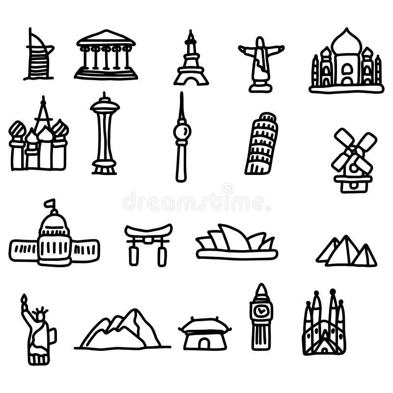 Travel landmarks icon set vector illustration sketch hand drawn vector illustration