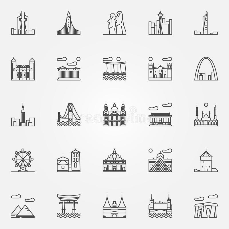 Travel landmarks icons set royalty free illustration