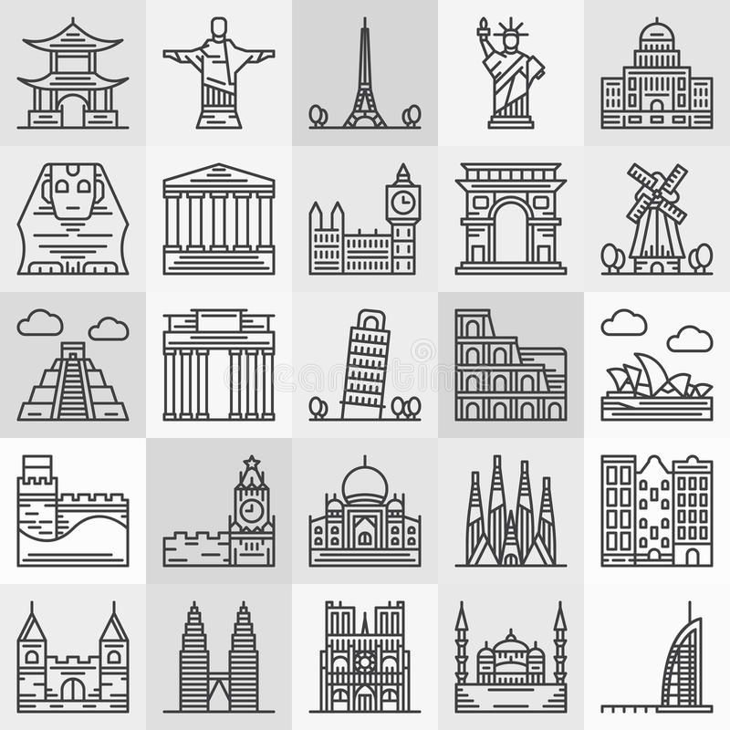 Travel landmarks icons. Vector popular architecture and famous monument symbols in thin line style stock illustration
