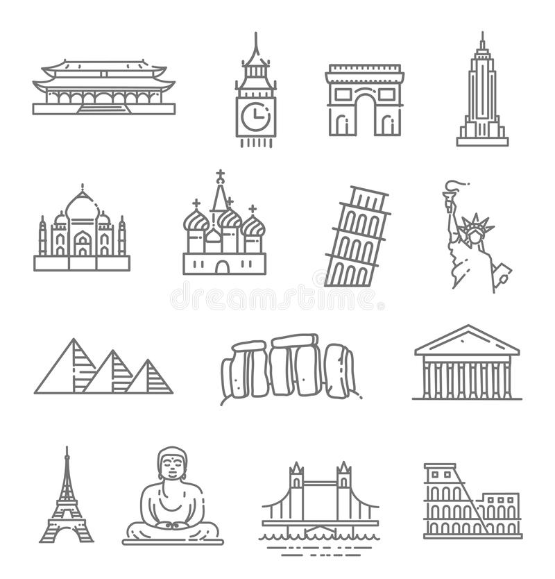 Travel landmarks line icon set stock illustration
