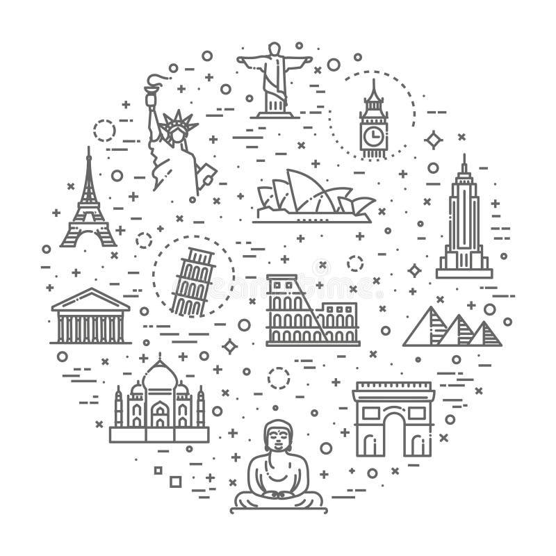 Travel landmarks line icon set royalty free illustration