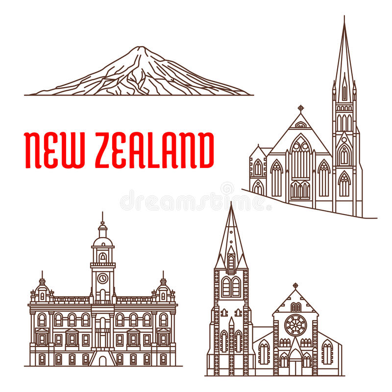 Travel landmarks of New Zealand thin line icon. Travel landmarks of New Zealand linear icon with ChristChurch Cathedral, presbyterian Knox Church, Dunedin Town vector illustration